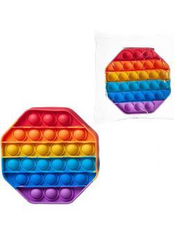 Игрушка-антистресс Junfa Бесконечные радужные шарики-пупырки в форме восьмиугольника