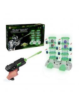 Игр.набор Тир, в комплекте: бластер 2шт., м/пули 24шт., наклейка 2шт., мишень (29 деталей), шарик 4шт., коробка