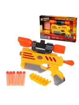 Бластер c мягкими пулями, в комплекте: м/пули 6шт., держатель для пуль, в ассортименте