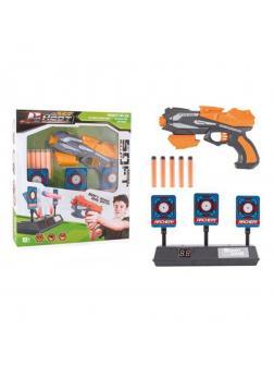 Игр.набор Тир, в комплекте: бластер, м/пули 5шт., мишень эл., свет, звук, эл.пит.АА*3шт.не вх.в комплект, коробка