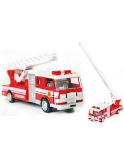 Металлическая машинка 1:24 «Пожарная служба» 7000SL с выдвижной лестницей, свет, звук
