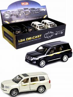 Металлическая машинка XLG 1:24 «Toyota Land Cruiser 200» 20 см. M923W инерционная, свет, звук / Микс