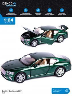 Машинка металлическая XLG 1:24 «Bentley Continental GT» M929J 20 см. инерционная, свет, звук / Зеленый