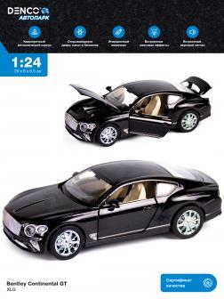 Машинка металлическая XLG 1:24 «Bentley Continental GT» M929J 20 см. инерционная, свет, звук / Черный