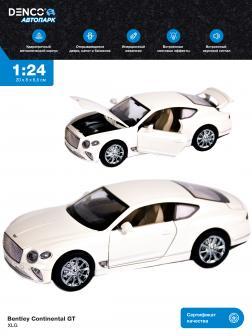 Машинка металлическая XLG 1:24 «Bentley Continental GT» M929J 20 см. инерционная, свет, звук / Белый