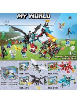 Набор конструкторов «My World» MG298 Minecraft / 4 шт.