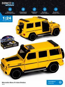 Машинка металлическая XLG 1:24 «Mercedes-Benz G-class Brabus» M923Z 19 см. инерционная, свет, звук / Желтый