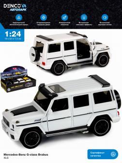 Машинка металлическая XLG 1:24 «Mercedes-Benz G-class Brabus» M923Z 19 см. инерционная, свет, звук / Белый