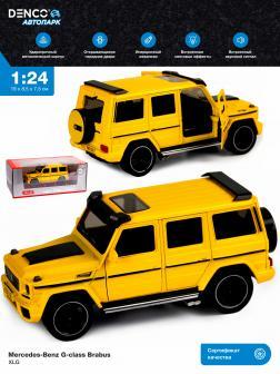 Машинка металлическая XLG 1:24 «Mercedes-Benz G-class Brabus» M923Z-1 19 см. инерционная, свет, звук в коробке / Желтый
