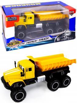 Металлическая машинка WGT Car 1:32 «Грузовик КРАЗ: внедорожник самосвал» 2217-7BA, Свет, Звук / Желтый