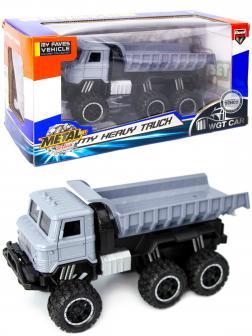 Металлическая машинка WGT Car 1:32 «Грузовик : внедорожник самосвал» 2216-15BA, Свет, Звук / Серый