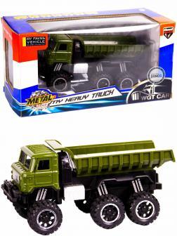 Металлическая машинка WGT Car 1:32 «Грузовик : внедорожник самосвал» 2216-15BA, Свет, Звук / Зеленый