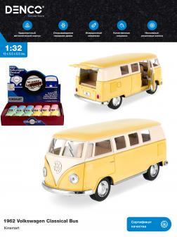 Металлическая машинка Kinsmart 1:32 «1962 Volkswagen Classical Bus (Пастельные цвета)» KT5060DY инерционная / Желтый