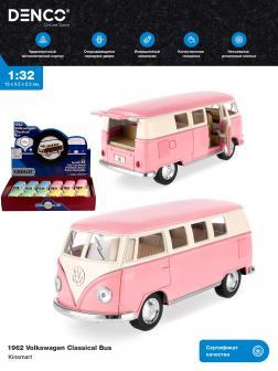 Металлическая машинка Kinsmart 1:32 «1962 Volkswagen Classical Bus (Пастельные цвета)» KT5060DY инерционная / Розовый