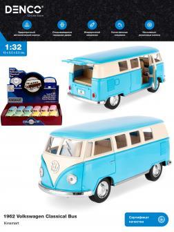 Металлическая машинка Kinsmart 1:32 «1962 Volkswagen Classical Bus (Пастельные цвета)» KT5060DY инерционная / Голубой