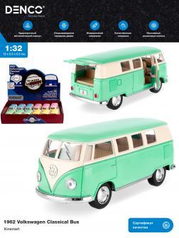 Металлическая машинка Kinsmart 1:32 «1962 Volkswagen Classical Bus (Пастельные цвета)» KT5060DY инерционная / Зеленый