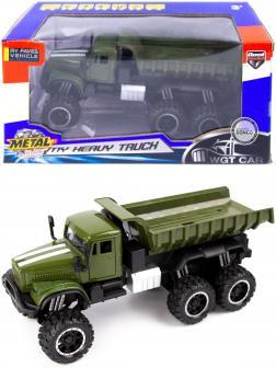 Металлическая машинка WGT Car 1:32 «Грузовик КРАЗ: внедорожник самосвал» 2217-15BA, Свет, Звук / Зеленый