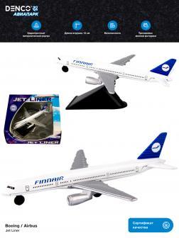 Металлическая модель самолета Jet Liner «Boeing / Airbus Finnair» 13 см. 8511312B  / Бело-синий