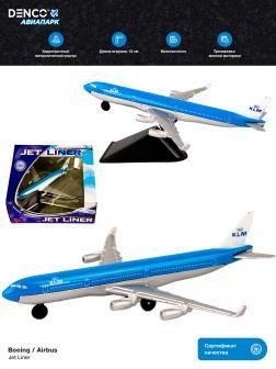 Металлическая модель самолета Jet Liner «Boeing / Airbus KLM» 13 см. 8511312B  / Сине-белый