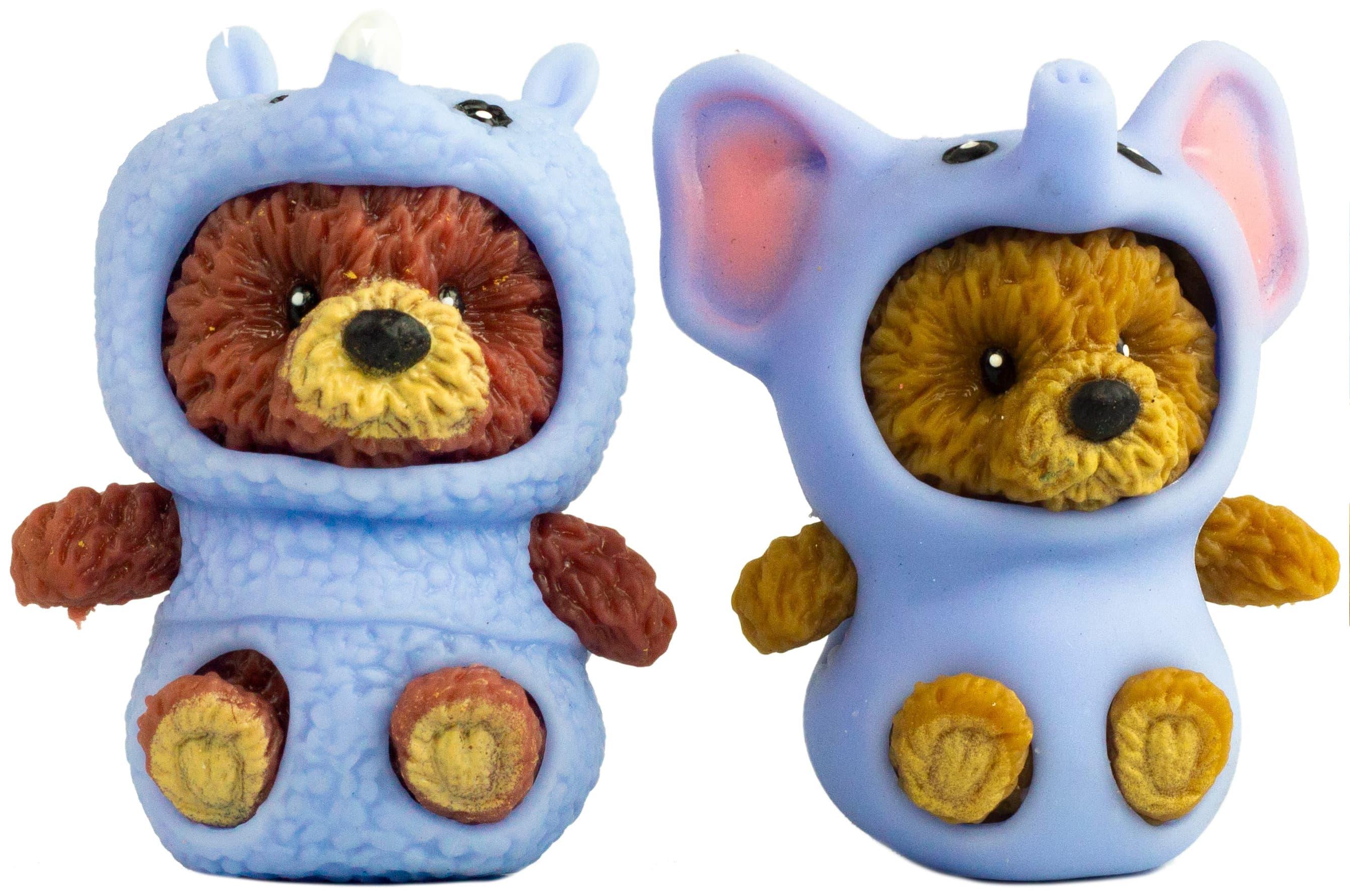 Фигурки-тянучки «Медвежата в костюмах Носорога и Слоника» из термопластичной резины, 5 см., 2 шт. в пакете / A223C-DB