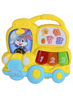 Игрушка музыкальная «Автобус-пианино» со светом и звуком 855-67А / Желтый