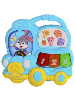 Игрушка музыкальная «Автобус-пианино» со светом и звуком 855-67А / Голубой