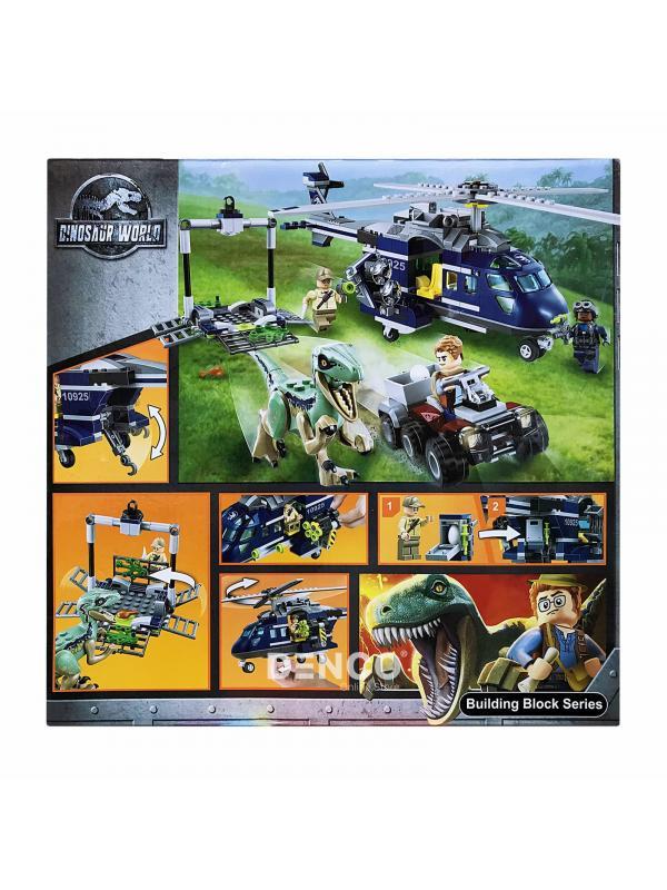 Конструктор Bl «Погоня за Блю на вертолёте» Парк Юрского периода 10925 (Jurassic World 75928), 415 деталей