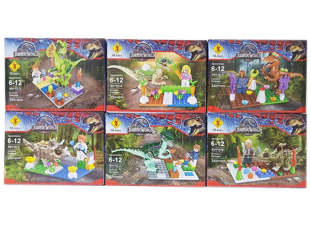 Набор 6 динозавров и 6 фигурок Парк Юрского периода (Jurassic World 99110), 219 деталей