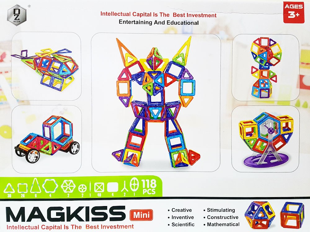 Магнитный конструктор «MagKiss Mini» HD343A 118 деталей
