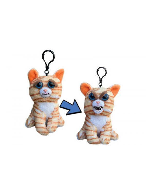 Мягкая игрушка Feisty Pets «Злой / Добрый Кошка рыжая с карабином» 11 см. FP002M