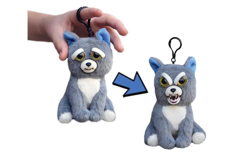 Мягкая игрушка «Злой / Добрый Собака серая с карабином» 11 см FP001M