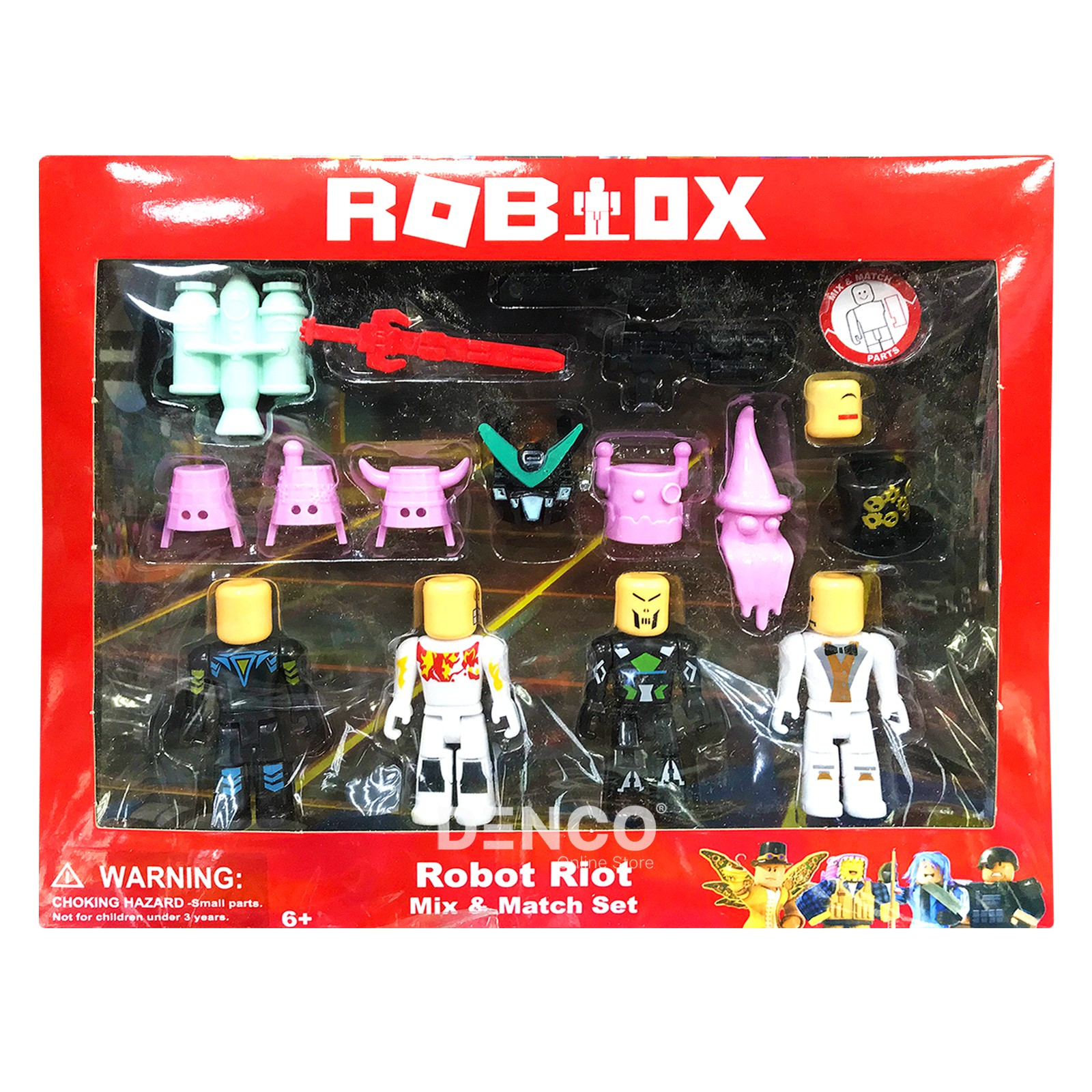 Набор из 4-х фигурок Роблокс «Robot Riot» с аксессуарами