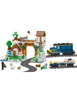 Конструктор MY WORLD «Железнодорожная станция» 33173 (Minecraft) 1080 деталей