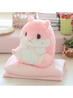 Подушка с пледом «Хомяк» розовый