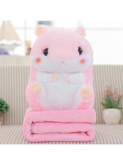 Подушка с пледом «Хомяк» большой розовый