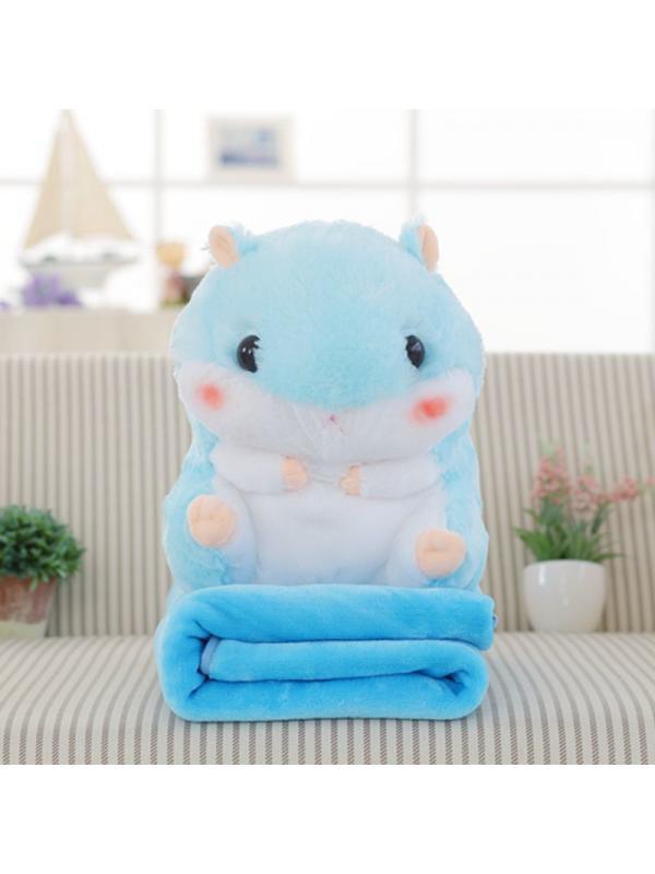 Подушка с пледом «Хомяк» большой голубой