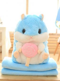 Подушка с пледом «Хомяк с конфетой» голубой
