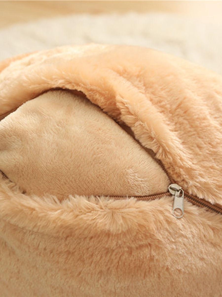 Подушка с пледом «Хомяк с семечкой» бежевый