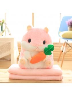 Подушка с пледом «Хомяк с морковкой» розовый