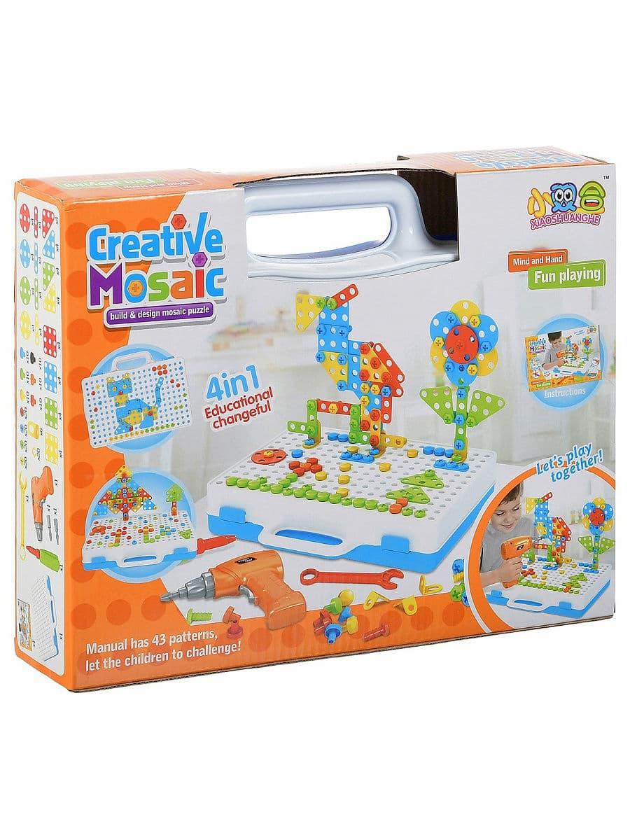 Развивающий конструктор-мозаика Creative Mosaic 4 in 1 с шуруповертом и отвертками / 237 деталей
