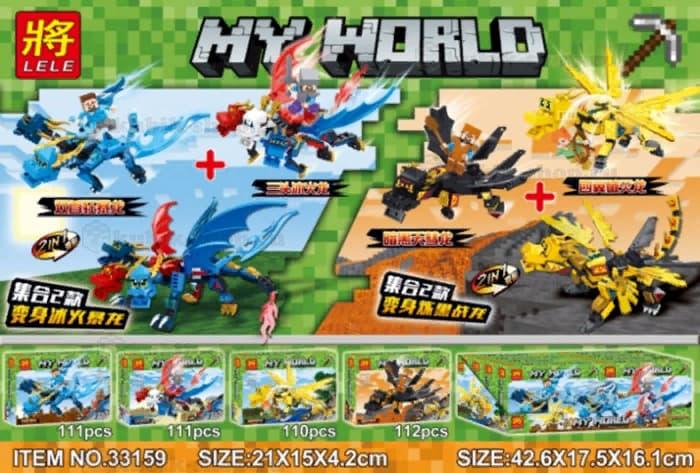Конструктор Ll MY WORLD «Герои на драконах» 33159 (Minecraft) 4 шт.