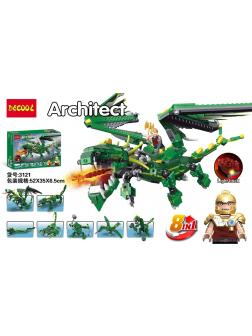 Конструктор DECOOL 8 в 1 «Зеленый дракон» 3121 598 деталей