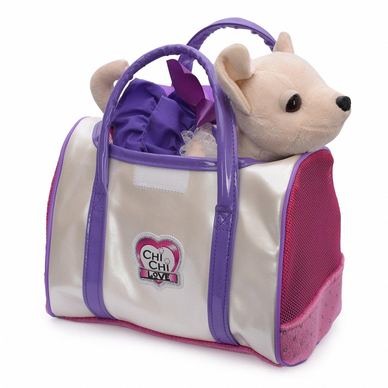 Плюшевая собачка Чихуахуа «Стайл» в платье с сумкой 20см