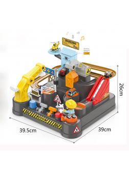 Детский Трек-головоломка «Строитель-Инженер» с машинками и вертолетом