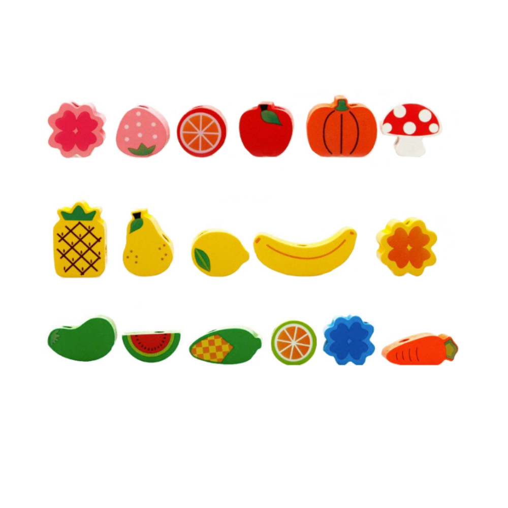 Деревянная игрушка-шнуровка Ежик. 82 бусины разной формы.