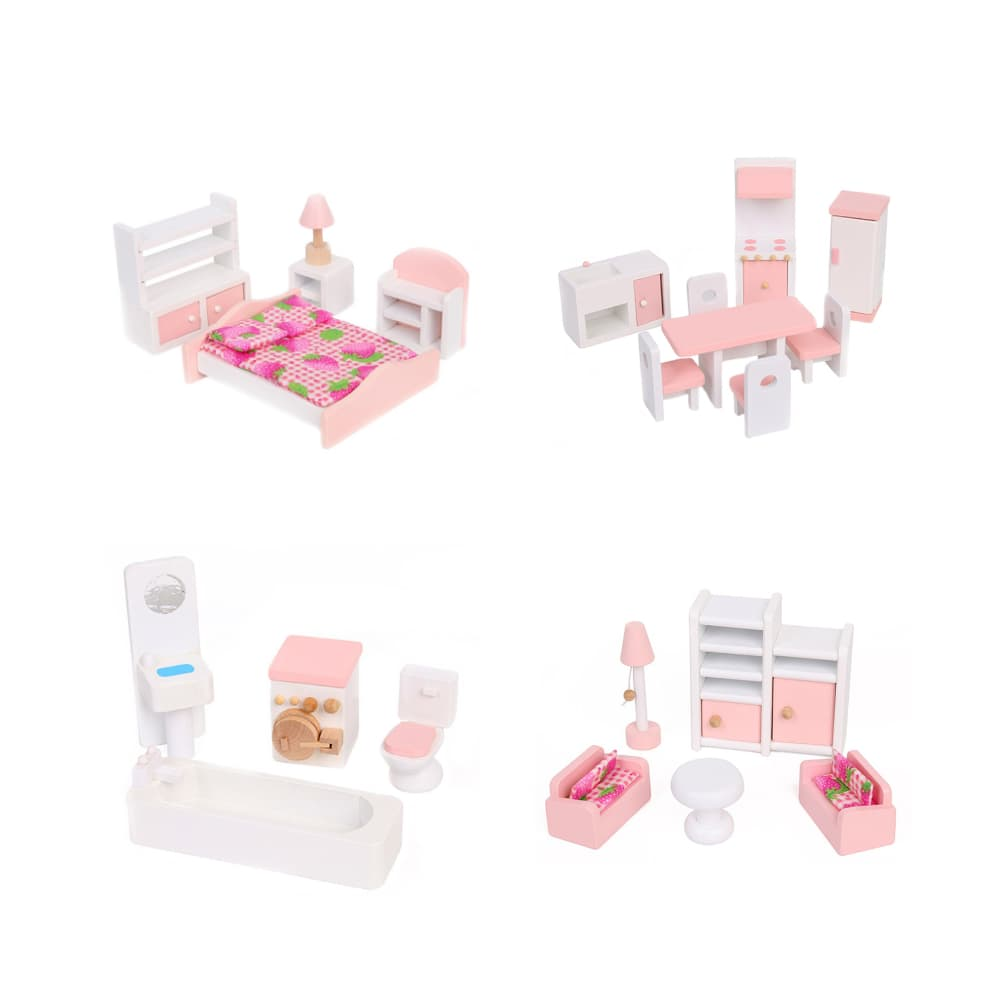 Набор розовой деревянной кукольной мебели. 4 комнаты.