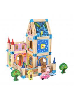 Деревянный конструктор Строим дворец. Блоки и карточки 128 деталей