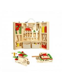 Деревянный детский набор инструментов и крепежа.