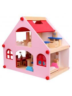 Деревянный кукольный домик с мебелью. Розовый.
