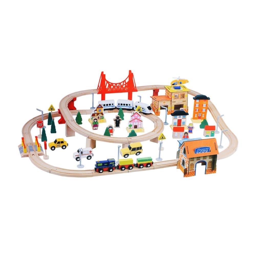 Деревянная железная дорога (108 деталей).